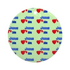 Jesus loves me spring green baby bl Round Ornament