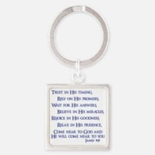 navy, James 4_8 Square Keychain