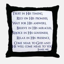 navy, James 4_8 Throw Pillow