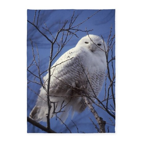 Snowy White Owl Vertical 5'x7'Area Rug