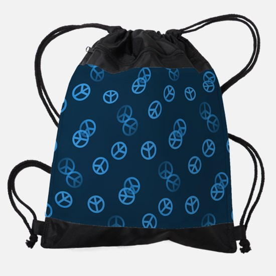 Random Blue Peace Sign Drawstring Bag