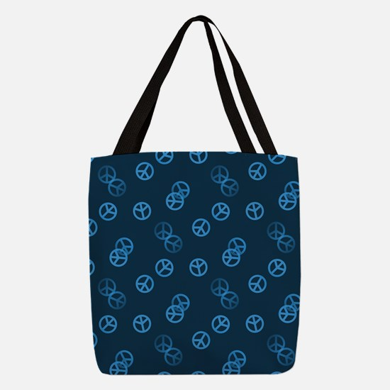 Random Blue Peace Sign Polyester Tote Bag