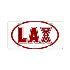 Lacrosse Oval LAX Red Aluminum License Plate
