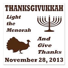 "Thanksgivukkah - Thanksg Square Car Magnet 3"" x 3"""
