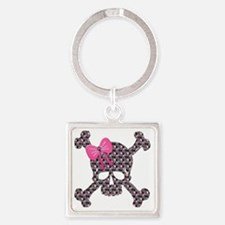 Heart Skull pink flowers copy Square Keychain