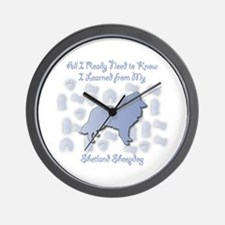 Learned Sheltie Wall Clock