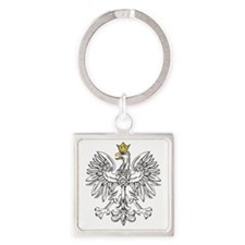 Polish Eagle With Gold Crown Square Keychain