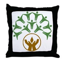 people around hands chalice Throw Pillow