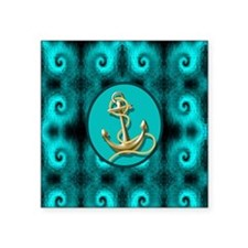 "modern anchor abstract teal Square Sticker 3"" x 3"""