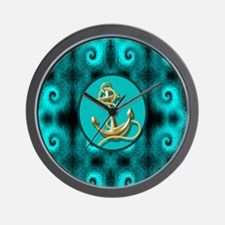 modern anchor abstract teal waves patte Wall Clock