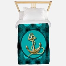 modern anchor abstract teal waves patte Twin Duvet