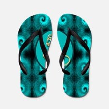 modern anchor abstract teal waves patte Flip Flops