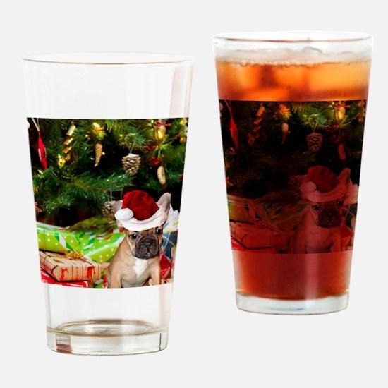 christmas French bulldog 4 Drinking Glass