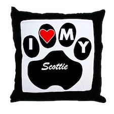 I Heart My Scottie Throw Pillow