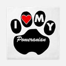 I Heart My Pomeranian Queen Duvet