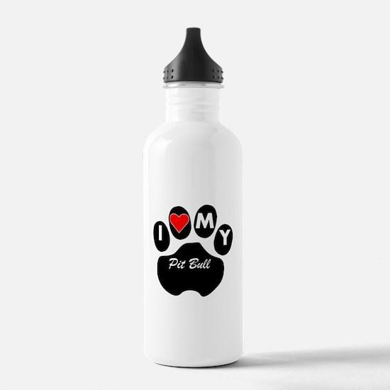 I Heart My Pit Bull Water Bottle