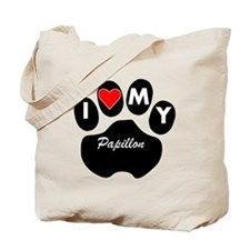 I Heart My Papillon Tote Bag