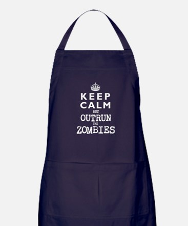 KEEP CALM but OUTRUN the ZOMBIES -wt- Apron (dark)