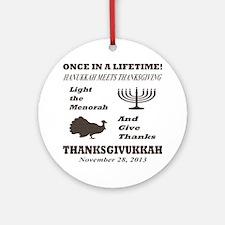 Thanksgiving meets Hanukkah - Thank Round Ornament