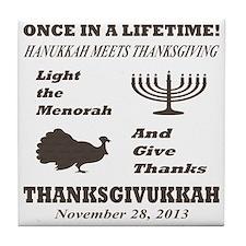 Thanksgiving meets Hanukkah - Thanksg Tile Coaster