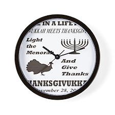 Thanksgiving meets Hanukkah - Thanksgiv Wall Clock