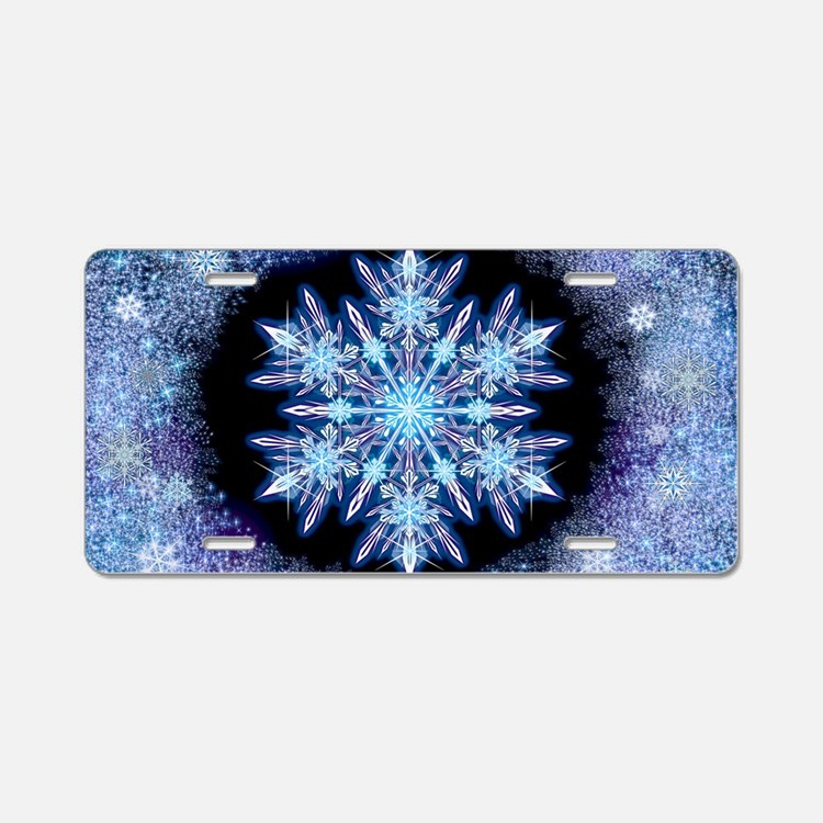 October Snowflake - wide Aluminum License Plate