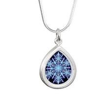 October Snowflake - squa Silver Teardrop Necklace