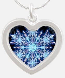 October Snowflake - square Silver Heart Necklace