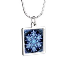 October Snowflake - square Silver Square Necklace