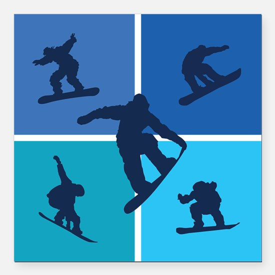 "snowboarding Square Car Magnet 3"" x 3"""