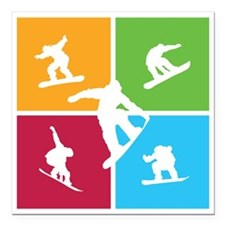 "snowboarding5 Square Car Magnet 3"" x 3"""