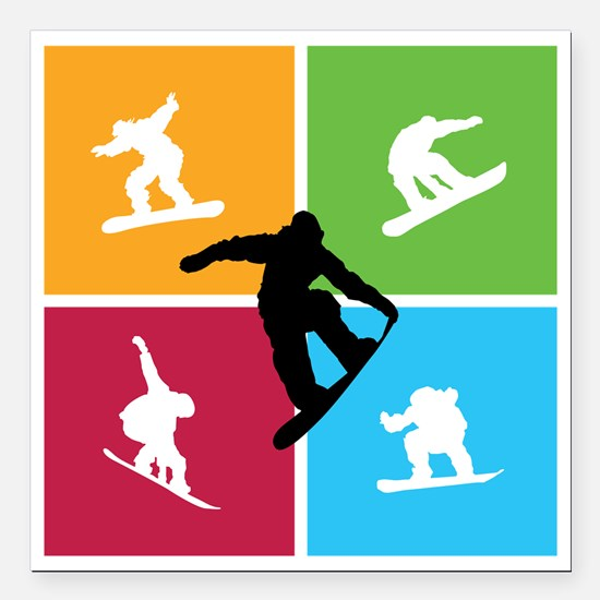 "snowboarding6 Square Car Magnet 3"" x 3"""