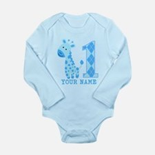 Blue Giraffe First Birthday Long Sleeve Infant Bod