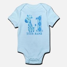 Blue Giraffe First Birthday Infant Bodysuit