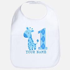 Blue Giraffe First Birthday Bib