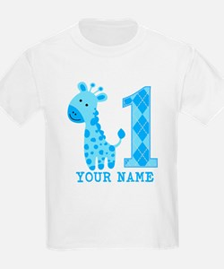 Blue Giraffe First Birthday T-Shirt