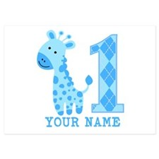Blue Giraffe First Birthday 5x7 Flat Cards