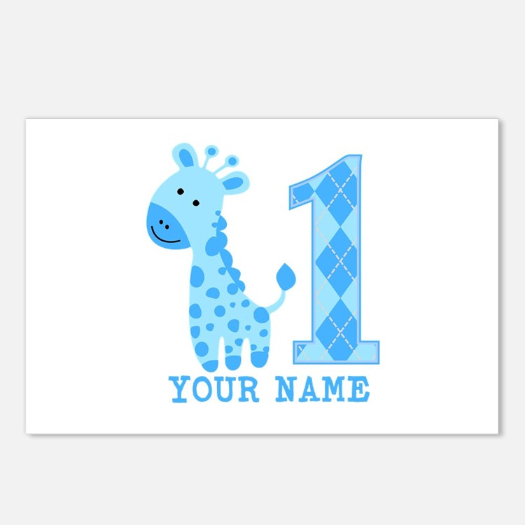 Blue Giraffe First Birthday Postcards (Package of