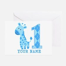 Blue Giraffe First Birthday Greeting Card
