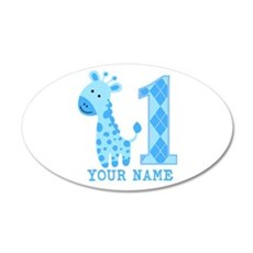 Blue Giraffe First Birthday 20x12 Oval Wall Decal