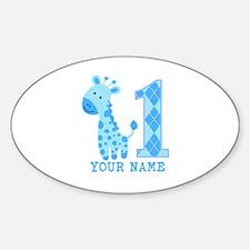Blue Giraffe First Birthday Sticker (Oval)