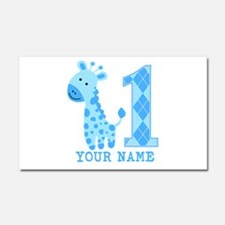 Blue Giraffe First Birthday Car Magnet 20 x 12