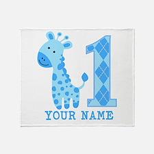 Blue Giraffe First Birthday Throw Blanket