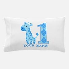 Blue Giraffe First Birthday Pillow Case