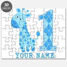 Blue Giraffe First Birthday Puzzle