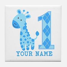 Blue Giraffe First Birthday Tile Coaster