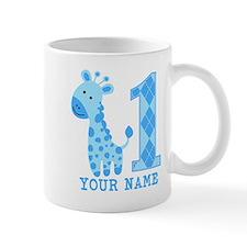 Blue Giraffe First Birthday Mug