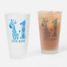 Blue Giraffe First Birthday Drinking Glass