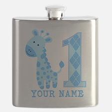 Blue Giraffe First Birthday Flask