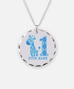 Blue Giraffe First Birthday Necklace
